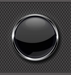 Black glass button with chrome frame on metal vector