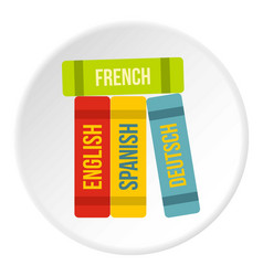 books of foreign languages icon circle vector image