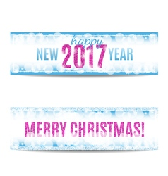Christmas and new year 2017 banners pink text and vector