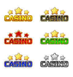 colored logo text casino and star for ui game vector image vector image