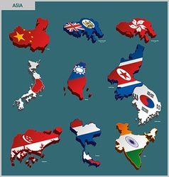 Countries terrain - asia vector