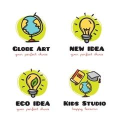 Doodle logo collection funny cartoon style vector