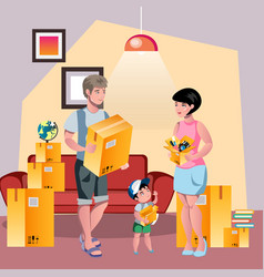 family moving to new house vector image vector image