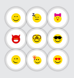 Flat icon face set of pleasant caress smile and vector