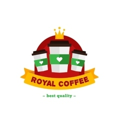 Flat modern coffee shop or cafe logo vector