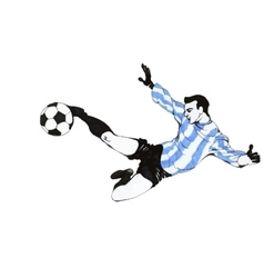 Football Soccer Player Wearing A Blue Striped vector image