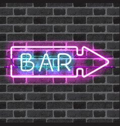 Glowing neon bar sign with direction arrow vector