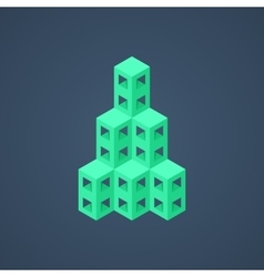 green abstract isometric building icon vector image vector image
