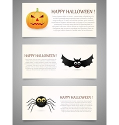 Halloween banner set with pumpkinflying bat and vector image vector image
