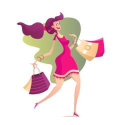 happy female with shopping bags vector image