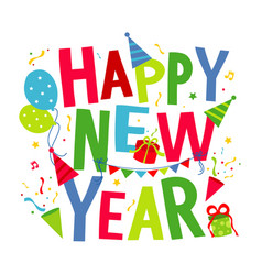 happy new year text cartoon vector image