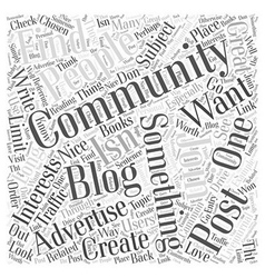 Join a community to advertise your blog word cloud vector