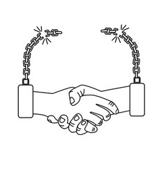 Line nice hands together like friendship with vector