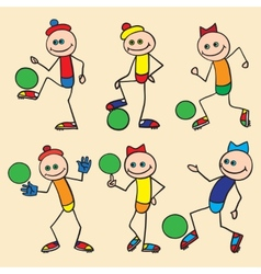 Little toy men playing football vector image
