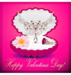 postcard on Valentines day with a necklace vector image