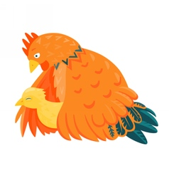 Red chicken with a yellow chick vector