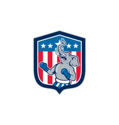 Republican elephant boxer mascot shield cartoon vector