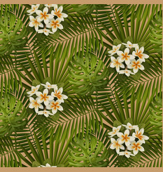 retro tropical flowers and leaves seamless pattern vector image