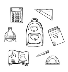 School sketch icons with education supplies vector image vector image