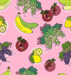 Seamless fruit pattern in pink vector