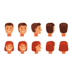 Set of human faces vector