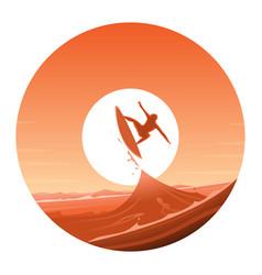 Surfing round icon vector