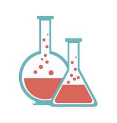test tube flask glass laboratory equipment school vector image vector image