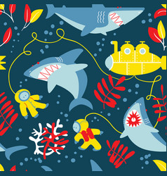 underwater adventure seamless pattern with sharks vector image vector image