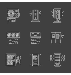 White flat line air purification icons vector image vector image