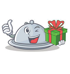 With gift tray character cartoon style vector