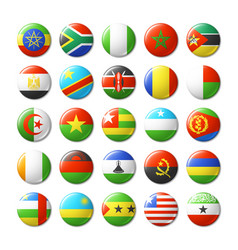world flags round badges magnets africa vector image vector image