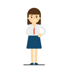 worried young woman in uniform character vector image vector image