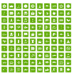 100 yoga studio icons set grunge green vector image