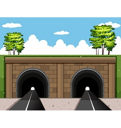 Two tunnels on the road vector