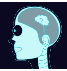 X-ray picture human head with small brain vector image
