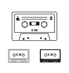 Compact audiocassettes on white background vector