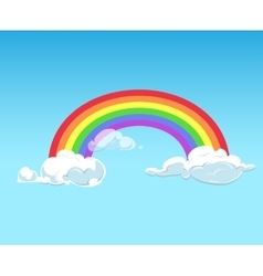 Rainbow and clouds against blue sky vector image