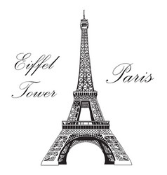 Hand drawing eiffel tower vector
