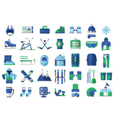 Winter sports and activity icons vector