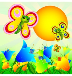 Summer sunny landscape with flowers and butterflie vector