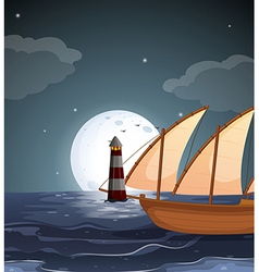 A sea with a lighthouse and a boat vector image