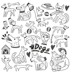 Dogs doodles vector image