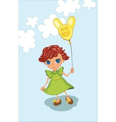 Cute girl holding balloon vector