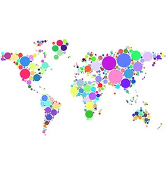 Abstract worldmap colorful dots isolated on white vector