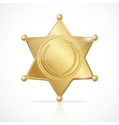 Golden sheriff badge star empty vector