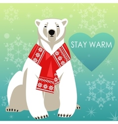Greeting card with polar bear vector