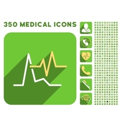 Ecg icon and medical longshadow icon set vector