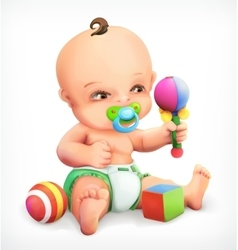 Kid with a rattle and pacifier vector