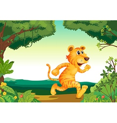 A tiger running along the forest vector