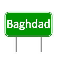 Baghdad road sign vector